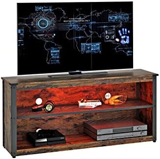 """BESTIER Modern TV Stand 20 Color RGB Light Entertainment Center,55"""" TV Console Mid-Metal Mesh Television Stands with 2-Tier Storage Cabinet Media Player for Living Bedroom up to 60 inch TV, Rustic"""