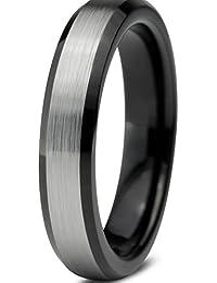 Tungsten Wedding Band Ring 4mm for Men Women Comfort Fit Black Enamel Beveled Edge Brushed Lifetime Guarantee