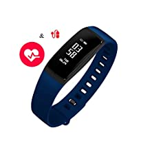 Fitness Tracker with Heart Rate and Blood Pressure Monitor Smart Wristband with Pedometer Sleep Monitor Step Calorie Counter Bluetooth Bracelet