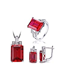 Jewelrypalace Luxury Emerald Cut 30.8ct Created Red Ruby Jewelry Sets Cocktail Ring Pendant Necklace Clip On Earrings 925 Sterling Silver
