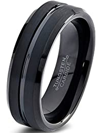 Tungsten Wedding Band Ring 4mm for Men Women Comfort Fit Black Enamel Beveled Edge Polished Brushed Lifetime Guarantee