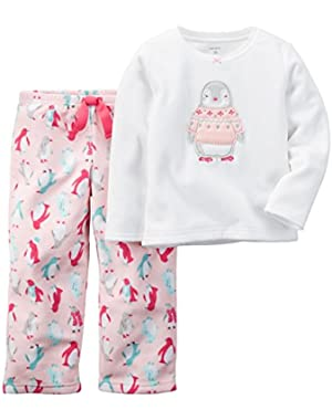 Little Girls' 2-Piece Fleece Pajama Set (2T, Ivory/Pink)