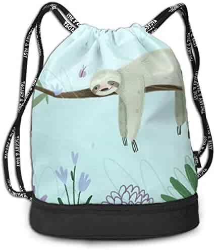 32275f325 Create Magic Birthday Sloth Drawstring Backpack Sports Athletic Gym String Bag  Cinch Sack Gymsack Sackpack With