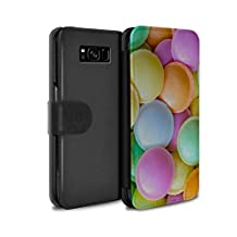 STUFF4 PU Leather Wallet Flip Case/Cover for Samsung Galaxy S8/G950 / Flying Saucers Design / Confectionery Collection