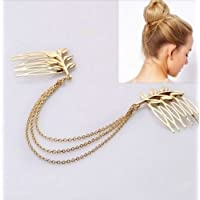 Multilayer Gold Chain Tassel Double Leaves Side Plug Hairpin Hair Comb Hair Clip