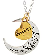 """DAUGHTER - I LOVE YOU TO THE MOON AND BACK Necklace - 24"""" (61cm) Chain Necklace - Family Gift"""