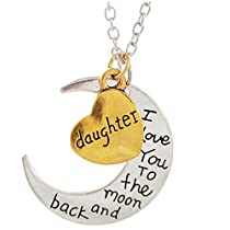 DAUGHTER - I LOVE YOU TO THE MOON AND BACK Necklace - 24 (61cm) Chain Necklace - Family Gift