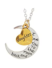 "DAUGHTER - I LOVE YOU TO THE MOON AND BACK Necklace - 24"" Chain Necklace - Family Gift"