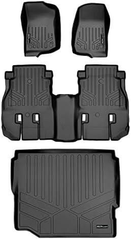 SMARTLINER Floor Mats and Cargo Liner Set Black for JL New Body 2018-2021 Jeep Wrangler Unlimited Without Subwoofer (no JK)