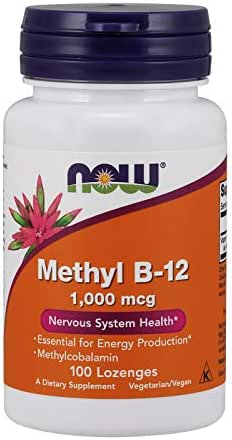 Now Supplements, Methyl B-12 (Methylcobalamin) 1,000 mcg, Nervous System Health*, 100 Lozenges