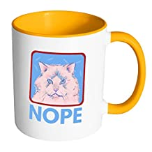 Hand Drawn Grumpy Cat with a NOPE | Funny and Cool White 11 oz Accent Coffee Mug In Different Colors