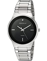 Caravelle Mens Quartz Stainless Steel Dress Watch, Color:Silver-Toned (Model: 43D106)