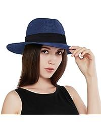 87e674844ced0 Womens UPF 50+ Wide Brim Panama Straw Hat Foldable Fedora Beach Sun Hat