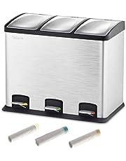 Velaze Cubos de Basura, Basureros Reciclajes de Acero Inoxidable Contenedores de Residuos para Oficina, Baño y Cocina con 60 Bolsas(12L x 3)