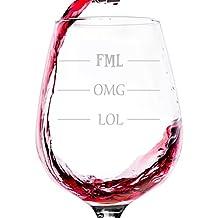 LOL OMG FML Funny Wine Glass