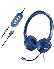 Mpow Micro Casque PC Filaire Téléphone Binaural, USB/3.5mm avec Microphone Réduction du Bruit, Oreillette Professionnelle avec Fil pour Smartphone, Skype, Bureau, Centre d'Appel, PC Gamer/PS3/PS4