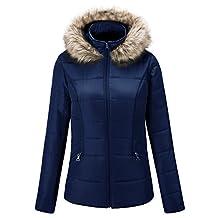 Escalier Women`s Winter Faux Fur Hooded Warm Jacket Coat Outwear