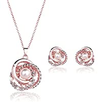 KAVANI Rose Gold Plated Elegant Pearl Pendant Necklace Earrings Set Jewelry Set for Women