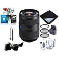 Sony 16-35mm f/2.8 Vario-Sonnar T ZA SSM II Zeiss Lens, Alpha DSLR Mount - Bundle with 77mm Filter Kit, Flex Lens Shade, Lens Wrap (19x19), Cleaning Kit, CapLeash, Software Package