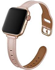 Danwon Pulseira fina, compatível com pulseiras Apple Watch 38/40 mm 42/44 mm, pulseira de couro de luxo para iWatch SE Series 6/5/4/3/2/1