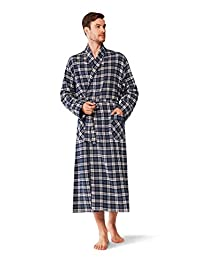 SIORO Mens Cotton Flannel Robe, Soft Plaid Bathrobe Shawl Collar Sleepwear Loungewear
