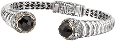 925 Silver & Round Faceted Onyx Twist Cuff Bracelet with 18k Gold Accents