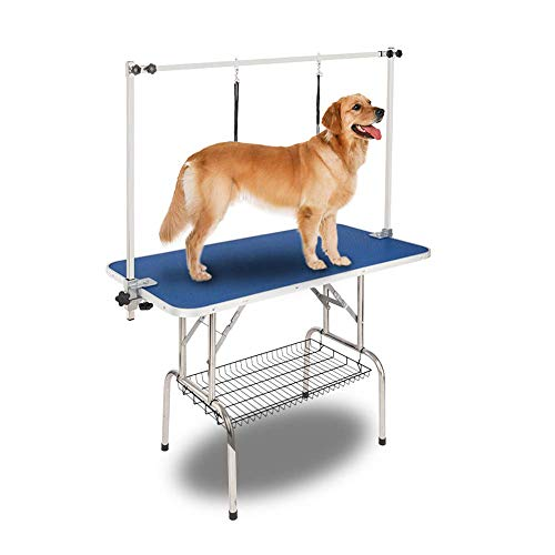 Bonnlo 36-inches Pet Grooming Table, Portable Dog Grooming Table with Arm Noose & Mesh Tray, Adjustable Foldable Pet Groom Table Stand for Dog Cat, Maximum Capacity Up to 330 LBS (36in)