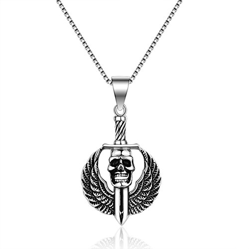TAGOO Men's Titanium Steel Skull Sword Wings Pendant Statement Necklace with Box Chain Adjustable, Boys Jewelry