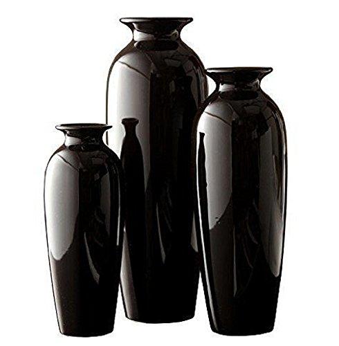 Hosleys-Elegant-Expressions-Set-of-3-Black-Ceramic-Vases-in-Gift-Box-New