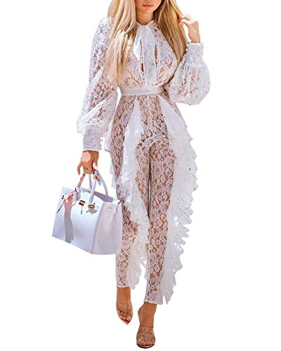 Womens Elegant Mesh Lace Jumpsuits - Bodycon Floral Sheer Ruffle Sexy See Through Long Sleeve and Pants One Piece Rompers White