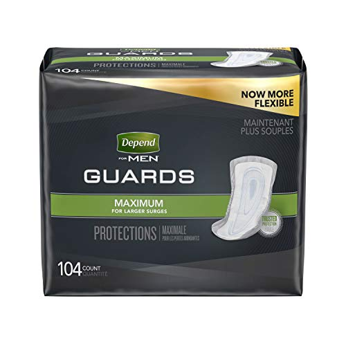 - Depend Incontinence Guards for Men, Maximum Absorbency, 2 Packs of 52, 104 Total Count (Packaging May Vary)