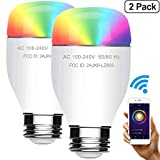 Smart LED Bulb Wi-Fi Color Light Work with Alexa & Google Home, Dimmable Multicolored 60W Equivalent RGBW Color Mode, No Hub Required, A19 E26 / E27 Base Type, 7W, 2PCS