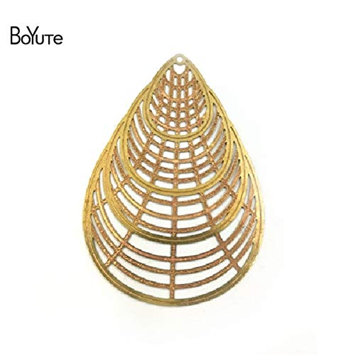 Laliva Accessories - 10Pcs Metal Brass Filigree Stamping Plate Water Drop DIY Hand Made Jewelry Parts & Accessories - (Color: Raw ()