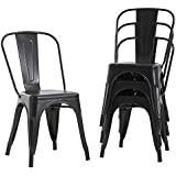Metal Dining Chairs Set of 4 Indoor Outdoor Chairs Patio Chairs Kitchen Metal Chairs 18 Inch Seat Height Restaurant Chair Met