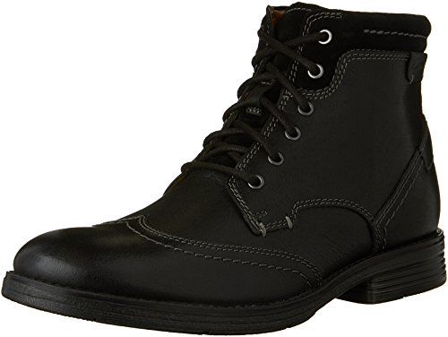Clarks Men's Devington Hi Chukka Boot, Black Smooth, 10 M (Black Smooth Chukka)