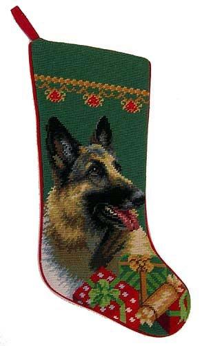 German Shepherd Christmas Stocking 100% Wool Hand-Stiched Needlpoint: (Wool Pet Stocking)