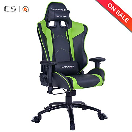 Computer Gaming Chair Racing Style Ergonomic High-Back PU Leather Office Executive Chair Adjustable Height with Headrest and Lumbar Support (Green) For Sale