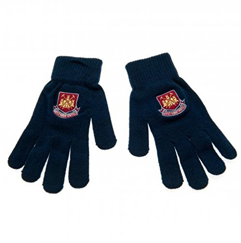 West Ham United Knitted Gloves Adults Blue Fan Gift Official Licensed Product