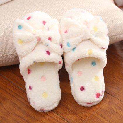 Y-Hui Butterfly zapatillas de algodón Dama invierno cálido arrastre Inicio algodón lana interior antideslizante zapatillas,4041 (para 3940),beige