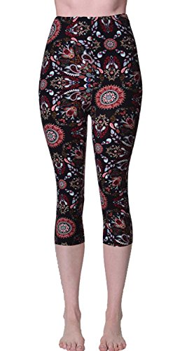 VIV Collection Plus Size Printed Brushed Capris (Volcano Paisley)