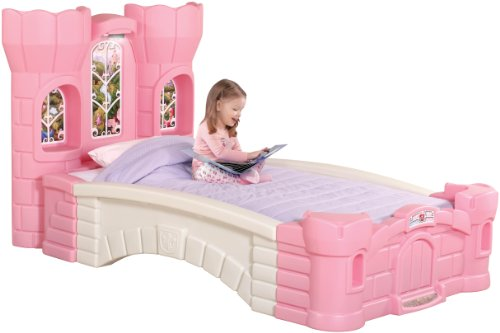 Step2 Princess Palace Twin Bed for Girls - Kids Durable Plastic Platform Bed with Headboard, Mattress Support Board and Built-in Light, ()
