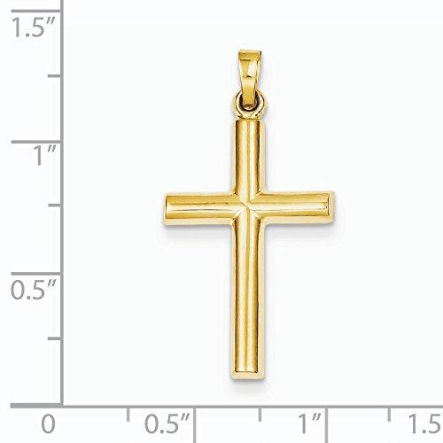 Poli 14 Carats Pendentif croix-Dimensions :  28 x 19 mm-JewelryWeb