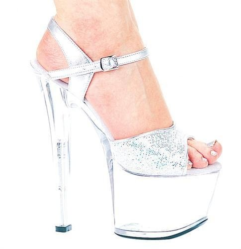 Ellie Shoes Womens 711 Flirt C Platform Sandal Silver Glitter HR2l8JcY