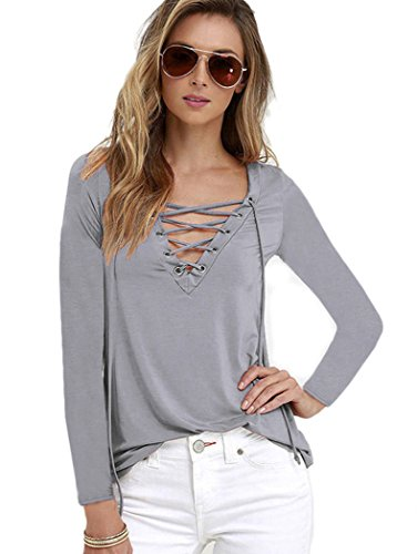 Women's Casual Long Sleeve V Neck Criss Cross T Shirt Blouse Tops Grey 3XL (Microfiber V-neck)