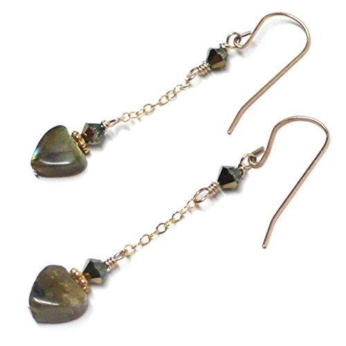 8mm Labradorite Heart Earrings Chain Dangle Swarovski Crystal Sterling Silver Gold-Filled (Heart Labradorite Earrings)