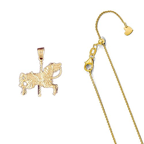 14K Yellow Gold Carousel Horse Pendant on an Adjustable Round Cable Chain Necklace, 22