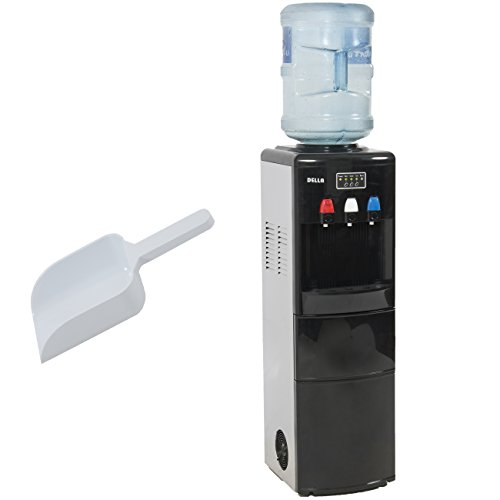 DELLA Silver Water Hot Cold Water Dispenser Top Loading With Ice Maker Upright Push Button Spout Function Children Safe