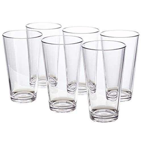 Bistro 20-ounce Premium Quality Clear Plastic Tumblers | set of 6 (Tumblers Stackable Plastic)