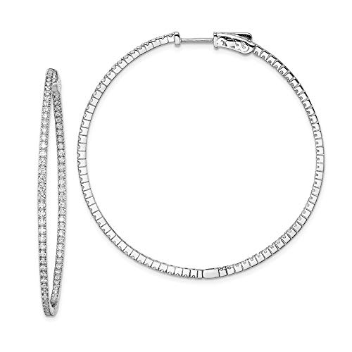 925 Sterling Silver Cubic Zirconia Cz In Out Hinged Hoop Earrings Ear Hoops Set Fine Jewelry Gifts For Women For Her