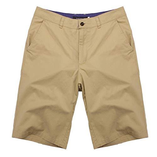 romantico 2019 Summer Men's Bermuda Shorts Casual Cargo Shorts Cotton Knee Length Chinos Sweatpants Shorts Big Size,Khaki,36